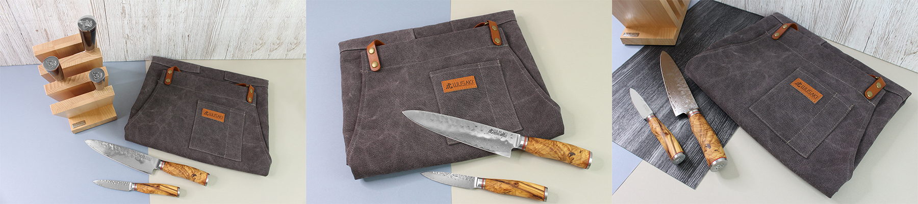 Kitchen leather and linen apron