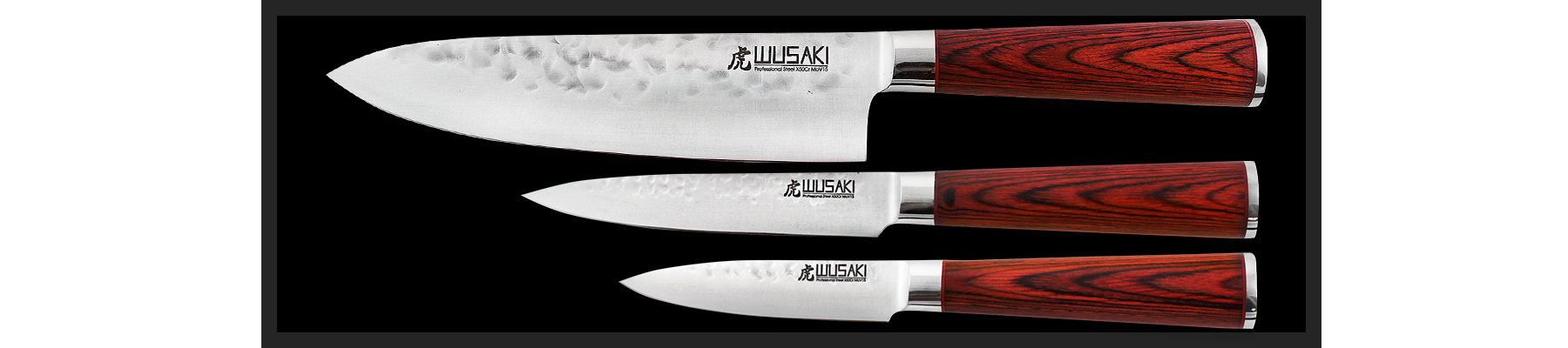Wusaki Pakka X50 Set with 1 Chef knife + 1 utility knife + 1 paring knife